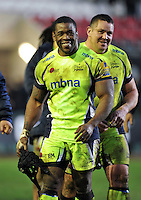 Brian Mujati of Sale Sharks is all smiles after the match. Aviva Premiership match, between Leicester Tigers and Sale Sharks on February 6, 2016 at Welford Road in Leicester, England. Photo by: Patrick Khachfe / JMP