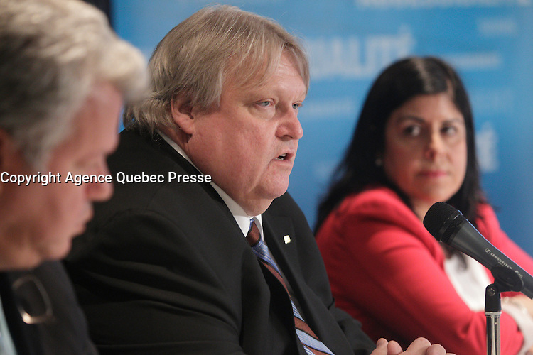 May , 2013 File Photo - Doctor Gaetan Barrette , President Federation des medecins specialistes du Quebec in a news conference.