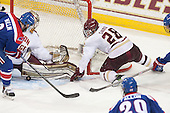 Terrence Wallin (UML - 9), Thatcher Demko (BC - 30), Scott Savage (BC - 28) - The Boston College Eagles defeated the visiting University of Massachusetts Lowell River Hawks 3-0 on Friday, February 21, 2014, at Kelley Rink in Conte Forum in Chestnut Hill, Massachusetts.