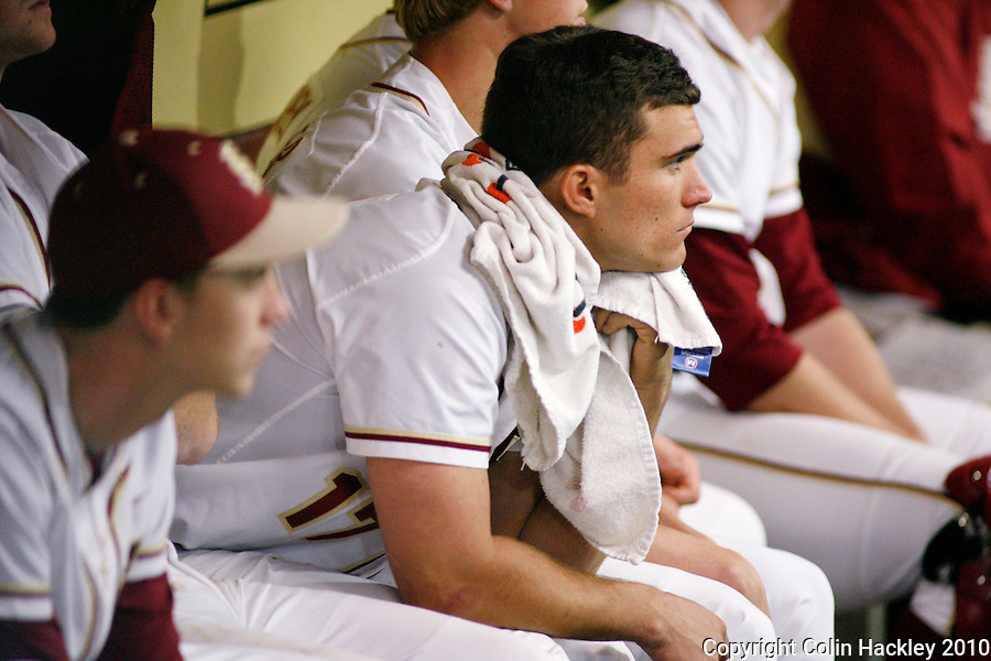 TALLAHASSEE, FL 3/12/10-FSU-UV BASE10 CH28-Florida State's Robby Stahl watches the game against Virginia slip away Friday at Dick Howser Stadium in Tallahassee. The Cavaliers broke the Seminoles 2010 12 game winning streak beating them 5-0...COLIN HACKLEY PHOTO