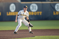 Michigan Wolverines third baseman Jimmy Kerr (15) on defense during the NCAA baseball game against the Eastern Michigan Eagles on May 16, 2017 at Ray Fisher Stadium in Ann Arbor, Michigan. Michigan defeated Eastern Michigan 12-4. (Andrew Woolley/Four Seam Images)