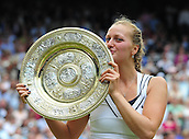 02.07.2011. Wimbledon, London. Ladies singles final match.  Petra Kvitova of Czech Republic Kisses The Winners Trophy during The Awarding Ceremony for Ladies Final in 2011 Wimbledon Championships in London Britain Kvitova defeated Maria  Sharapova of Russia with 2 0 in The Final