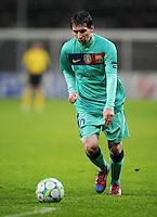FUSSBALL   CHAMPIONS LEAGUE   SAISON 2011/2012   ACHTELFINALE  Bayer 04 Leverkusen - FC Barcelona              14.02.2012 Lionel Messi (Barca) Einzelaktion am Ball