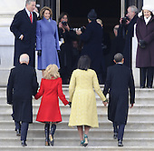 Washington, DC - January 20, 2009 -- United States President Barack H. Obama (R) walks with his wife Michelle and Vice president Joseph Biden (L) and his wife Jill after escorting former President George W. Bush from the U.S. Capitol after Obama's swearing in as the 44th President of the United States during the 56th Presidential Inauguration ceremony in Washington, D.C., USA 20 January 2009..Credit: Tannen Maury - Pool via CNP