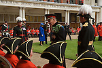 The Duke of Edinburgh and the Quuen inspect Chelsea Penioners, London. The Founders Day annual celebration. London SW3 England. 2006.