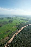 Aerial of the Mahaweli river bordering the Wasgamuwa National Park.