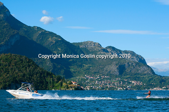 Water-skiing on Lake Como, Italy