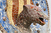 Serpent head in the middle of the four bars (National Catalonian Coat of Arms), Park Güell, Barcelona, Catalonia, Spain, 1900 - 1914, built by architect Antoní Gaudi (Reus 1852, Barcelona 1926). Picture by Manuel Cohen