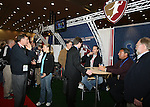 18 January 2008: Thom Meredith (l), Heather Mitts (2nd from left), Eric Wynalda (3rd from rt), Tony DiCicco (2nd from rt), and Jack Huckel (r) at the Women's Professional Soccer exhibit. The 2008 National Soccer Coaches Association of America's annual convention was held at the Convention Center in Baltimore, Maryland.