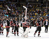 The Huskies salute their fans. - The Boston College Eagles defeated the Northeastern University Huskies 5-4 in their Hockey East Semi-Final on Friday, March 18, 2011, at TD Garden in Boston, Massachusetts.