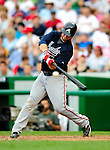 5 July 2009: Atlanta Braves' catcher Brian McCann in action against the Washington Nationals at Nationals Park in Washington, DC. The Nationals defeated the Braves 5-3, to take the rubber game of their 3-game weekend series. Mandatory Credit: Ed Wolfstein Photo