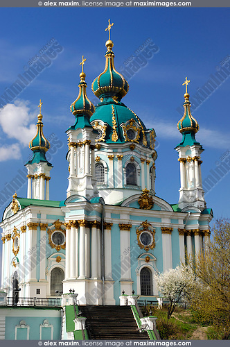 Andreevskaya church - Andrey's orthodox church with green cupola and golden crosses in Kiev Ukraine Eastern Europe 2007 Vertical orientation