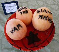 "An entry titled ""Jam and the Giant Peach"" is displayed during the San Diego Book Arts ninth annual Edible Book Tea at the Watercolor Society Gallery, NTC Pomenade, Liberty Station, San Diego, California Saturday, April 5, 2008.  The event featured books made from edible materials amd prizes were award to the best entrants."