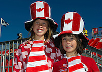 01 July 2010:  Young fans celebrate Canada Day during the beginning of a game between the Houston Dynamo and the Toronto FC at BMO Field in Toronto..Final score was 1-1....
