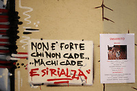 Alcune scritte sulla resistenza dopo il terremoto  del 2009. Some writing on the resistance after the earthquake of 2009.