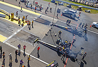 Aug 21, 2016; Brainerd, MN, USA; NHRA top fuel driver Tony Schumacher (near) alongside Terry McMillen during the Lucas Oil Nationals at Brainerd International Raceway. Mandatory Credit: Mark J. Rebilas-USA TODAY Sports