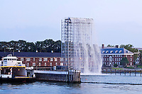 Waterfall designed created by Olafur Eliasson, Governors Island,  New York City, New York, USA