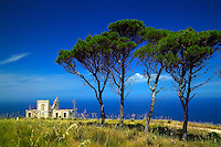 Trapani, Sicily, Italy, May 2007. An old villa overlooks the sea from the mountaisn behind Trapani. The rugged nature of sicily harbours beautiful villages and ruins of ancient civilizations. Photo by Frits Meyst/Adventure4ever.com