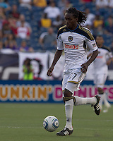 Philadelphia Union midfielder Keon Daniel (17) brings the ball forward. In a Major League Soccer (MLS) match, the Philadelphia Union defeated the New England Revolution, 3-0, at Gillette Stadium on July 17, 2011.