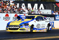 Jul. 25, 2014; Sonoma, CA, USA; NHRA pro stock driver Allen Johnson during qualifying for the Sonoma Nationals at Sonoma Raceway. Mandatory Credit: Mark J. Rebilas-