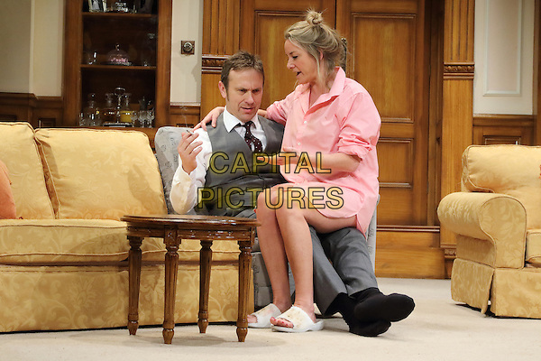 LONDON, ENGLAND - Jason Merrells as 'Bob Phillips' and Tamzin Outhwaite as 'Teresa Phillips' in 'How The Other Half Loves' Photocall at the Theatre Royal Haymarket, London on March 30th 2016<br /> CAP/ROS<br /> &copy;Steve Ross/Capital Pictures