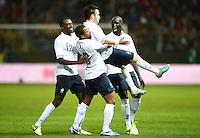 Fussball International  Freundschaftsspiel   14.11.2012 Italien - Frankreich Jubel mit Mathieu Valbuena und Patrice Evra  (Frankreich)