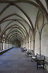 People Seated in Salisbury Cathedral Cloister, Salsbury, England, UK