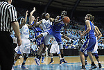 26 February 2012: Duke's Elizabeth Williams (1) grabs a rebound in front of North Carolina's Danielle Butts (10). The Duke University Blue Devils defeated the University of North Carolina Tar Heels 69-63 at Carmichael Arena in Chapel Hill, North Carolina in an NCAA Division I Women's basketball game.