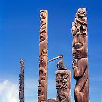 Gitxsan (Gitksan aka Tsimshian) Totem Poles, Gitanyow (Kitwancool), Northern BC, British Columbia, Canada