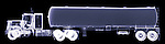 X-ray image of a tanker truck (blue on black) by Jim Wehtje, specialist in x-ray art and design images.