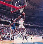 27 MAR 1976:  UCLA guard Andre McCarter (45) and Indiana forward Scott May (42) during the NCAA Men's National Basketball Final Four semifinal game held in Philadelphia, PA, at the Spectrum. Indiana defeated UCLA 65-51 to meet Michigan for the championship. Rich Clarkson/NCAA Photos.SI CD 0024-15