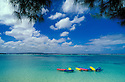 Kayaks in lagoon at Pacific Islands Club resort, Saipan, Northern Marianas Islands, Micronesia..