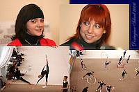 (L-R) Anna Bessonova and Natalya Godunko of Ukraine smile during press interview and (Lowr L-R) the Deriugina School trains before 2006 Deriugina Cup Grand Prix in Kiev, Ukraine on March 14, 2006.<br />