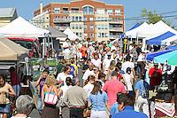 Patrons roam the Saturday morning Farmers Market in Charlottesville, VA