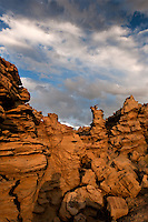 746000055 summer thunderstorm clouds form up over the hoodoos in fantasy canyon blm lands utah united states