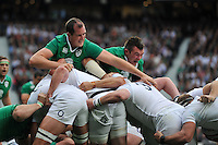 Devin Toner and Peter O'Mahony of Ireland compete at a maul. QBE International match between England and Ireland on September 5, 2015 at Twickenham Stadium in London, England. Photo by: Patrick Khachfe / Onside Images