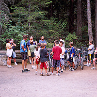 Cycling Families gathering for a Hike in Helliwell Provincial Park, on Hornby Island, in the Northern Gulf Islands, British Columbia, Canada