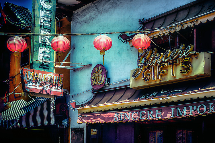 Street location with asian building in USA