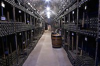 old bottles in the cellar bouchard p & f beaune cote de beaune burgundy france
