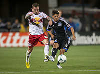 March 10th, 2013: Jonny Steele fights for the ball alongside with Shea Salinas during a game at Buck Shaw Stadium, Santa Clara, Ca.   Earthquakes defeated Red Bulls 2-1