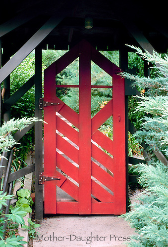 Japanese garden gate entrance into a private garden