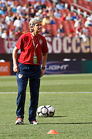 22 MAY 2010:  USA WNT Coach Pia Sundhage during the International Friendly soccer match between Germany WNT vs USA WNT at Cleveland Browns Stadium in Cleveland, Ohio on May 22, 2010.