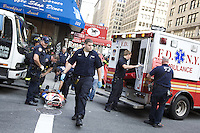 An MTA subway worker was injured on the Brooklyn-bound side of the 1 train subway station at 7th Avenue and 28th Street in New York City on 23 September 2010.