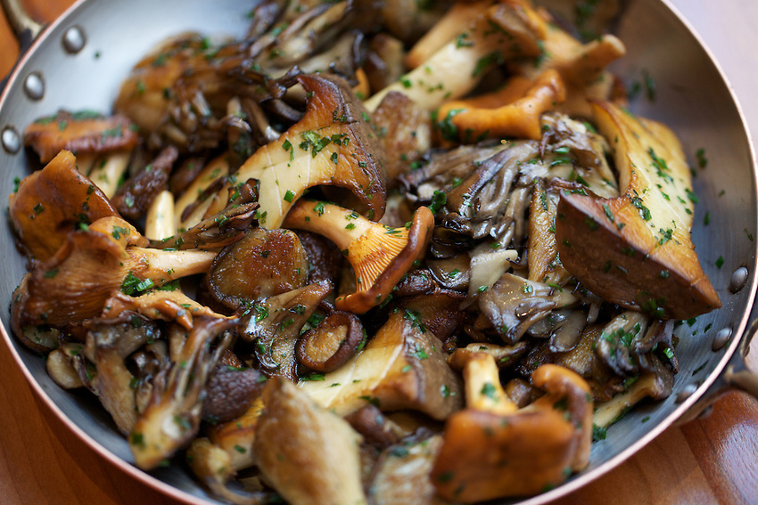NEW YORK, NY - SEPTEMBER 24, 2013: Mixed Mushrooms at Craft in the Flatiron District. CREDIT: Clay Williams for Zagat.<br /> <br /> &copy; Clay Williams / http://claywilliamsphoto.com