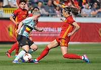 20170408 - EUPEN ,  BELGIUM : Belgian jana Coryn (L) and Spanish Virginia Torrecilla (R) pictured during the female soccer game between the Belgian Red Flames and Spain , a friendly game before the European Championship in The Netherlands 2017  , Saturday 8 th April 2017 at Stadion Kehrweg  in Eupen , Belgium. PHOTO SPORTPIX.BE | DIRK VUYLSTEKE