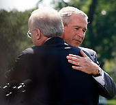 "Washington, D.C. - August 13, 2007 -- Deputy Chief of Staff Karl Rove hugs United States President George W. Bush after announcing he is leaving the Bush Administration at the end of August, 2007 on Monday, August 13, 2007. Rove told reporters ""I am grateful to have been a witness of history. It has been the joy and the honor of a lifetime."" Rove, a close friend of President Bush has been his most prominent advisor and political strategist..Credit: Aude Guerrucci - Pool via CNP"