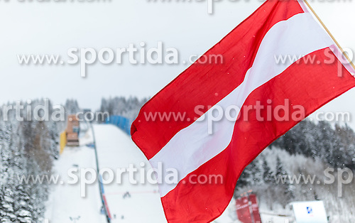 16.01.2016, Kulm, Bad Mitterndorf, AUT, FIS Skiflug WM, Kulm, im Bild die Nationalflagge von Österreich // Austrian National Flag in Front of the Hill during FIS Ski Flying World Championships at the Kulm in Bad Mitterndorf, Austria on 2016/01/16. EXPA Pictures © 2016, PhotoCredit: EXPA/ JFK
