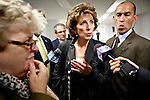 University of California, Davis chancellor Linda Katehi speaks to reporters after tesitfying at a Joint Informational Hearing on the UC Davis pepper spray incident at the State Capitol in Sacramento, CA, December 14, 2011.