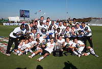 Maryland poses with the ACC men's soccer tournament trophy after the game at the Maryland SoccerPlex in Germantown, MD. Maryland defeated North Carolina, 2-1,  to win the ACC men's soccer tournament.