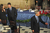 Washington, DC - January 20, 2009 -- Treasury Secretary Nominee Timothy Geithner waits with his wife to meet and greet Barack Obama's White House Chief of Staff Rahm Emanuel before the luncheon at Statuary Hall in the U.S. Capitol in Washington DC following Barack Obama's swearing in as the 44th President of the United States on January 20, 2009..Credit: Amanda Rivkin - Pool via CNP